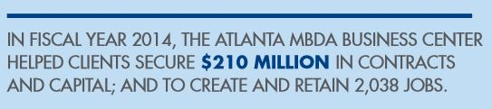 IN FISCAL YEAR 2014, THE ATLANTA MBDA BUSINESS CENTER  HELPED CLIENTS SECURE $210 MILLION IN CONTRACTS  AND CAPITAL; AND TO CREATE AND RETAIN 2,038 JOBS.IN FISCAL YEAR 2014, THE ATLANTA MBDA BUSINESS CENTER  HELPED CLIENTS SECURE $210 MILLION IN CONTRACTS  AND CAPITAL; AND TO CREATE AND RETAIN 2,038 JOBS.